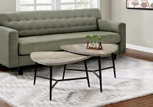 TABLE SET - 2PCS SET / TAUPE RECLAIMED WOOD / BLACK METAL