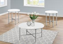 TABLE SET - 3PCS SET / GLOSSY WHITE / CHROME METAL