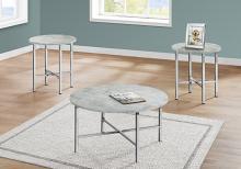 TABLE SET - 3PCS SET / GREY CEMENT / CHROME METAL