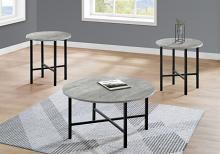 TABLE SET - 3PCS SET / GREY RECLAIMED WOOD / BLACK METAL