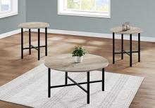 TABLE SET - 3PCS SET / TAUPE RECLAIMED WOOD / BLACK METAL