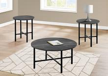 TABLE SET - 3PCS SET / BLACK RECLAIMED WOOD / BLACK METAL
