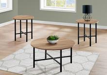 TABLE SET - 3PCS SET / GOLDEN PINE / BLACK METAL