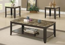 TABLE SET - 3PCS SET / ESPRESSO / MARBLE-LOOK TOP