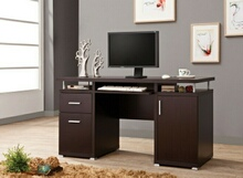 Espresso finish wood office computer desk with file cabinet , drawer and open cabinet