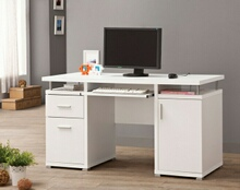 800108 White finish wood office computer desk with file cabinet , drawer and open cabinet