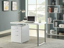 800325 Silver finish metal frame and white wood finish top computer student desk with 3 drawer cabinet