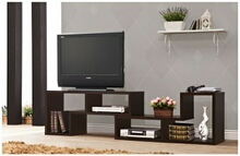 800329 Espresso finish wood modern contemporary style expandable tv stand / bookcase