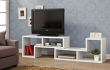 800330 White finish wood modern contemporary style expandable tv stand / bookcase