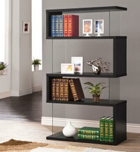 Black finish wood and glass 4 tier bookshelf with alternating glass and wood ends