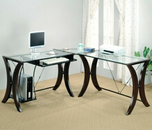 Coaster 800446 L shaped corner student computer desk with glass top and espresso finish frame
