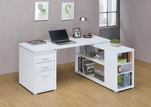 800516 Latitude run cristhian white finish wood l shaped reversible set up computer desk with drawers and shelves