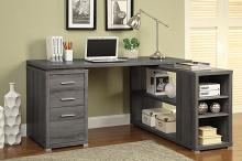 800518 Mercury row senga weathered grey finish wood l shaped reversible set up computer desk with drawers and shelves