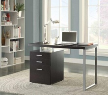 800519 Orren ellis tanguay silver finish metal frame black wood finish top computer student desk with 3 drawer cabinet