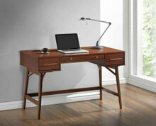 800744 Corrigan studio kaiya walnut finish wood 3 drawer writing student desk with round legs