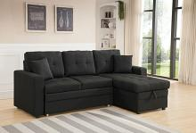 8008-BK 2 pc Latitude Run Reider black linen like fabric sectional sofa set pull out sleep area reversible chaise