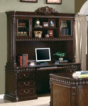Tucker collection traditional style rich brown finish wood office credenza desk and hutch