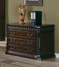 800802 Tucker collection traditional style rich brown finish wood office filing cabinet