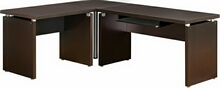 "3 pc espresso wood finish ""l"" shaped reversible corner desk with slide out keyboard drawer"