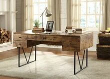 800999 Antique nutmeg finish wood and black metal frame writing desk with multiple drawers