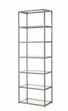 6 tier nickel finish metal frame and glass shelves book case
