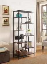 801134 Brayden studio richert wilmington walnut finish wood and black metal finish shelf