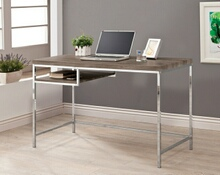 Weathered grey finish wood and chrome finish metal legs office writing desk with shelf