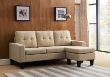 MGS 8023-BG 2 pc Mercury Row Briley beige linen like fabric sectional sofa reversible ottoman chaise