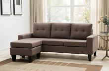8023-DB 2 pc Mercury Row Briley dark brown linen like fabric sectional sofa reversible ottoman chaise