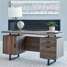 802521 Orren ellis onancock lawtey aged walnut finish wood black metal frame office desk