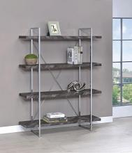 802613 Gracie oaks inglestone Frisco four tier chrome metal frame rustic grey bookcase shelf