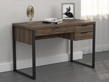 803370 Union rustic stickland pattinson aged walnut finish wood gunmetal metal frame writing desk