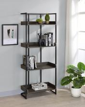 803412 17 stories asti ember dark oak finish wood sandy black metal frame 4 tier book shelf
