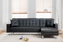 MGS 8036-BK 2 pc Taylorann modern style black faux leather sectional sofa reversible chaise