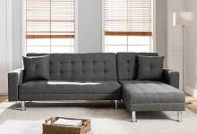 8056-GY 2 pc Orren ellis paulin jett modern style gray linen like fabric sectional sofa reversible chaise