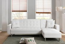 MGS 8036-WH 2 pc Taylorann modern style white faux leather sectional sofa reversible chaise