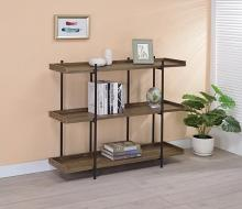 804293 Carbon loft kishmere lawtey aged walnut finish wood with black metal frame 3 tier shelf