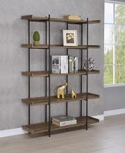 804294 Carbon loft kishmere lawtey aged walnut finish wood with black metal frame 5 tier shelf