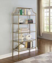 804393 Mercer 41 ayotte 5 tier matte gold finish metal frame and glass shelves book case