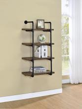 804426 Carbon loft agwan rustic oak finish wood black metal frame 4 tier wall mount shelf