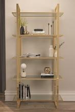 805537 Wade logan ebern designs polished gold metal finish shelf unit with glass shelves