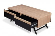 Acme 80580 Latitude run nuria rustic natural finish and sandy black wood mid century modern coffee table