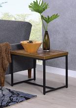 Acme 80617 Bob weathered oak finish wood top black metal frame chair side end table