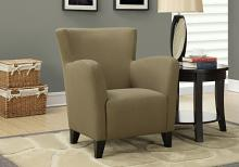 ACCENT CHAIR - BROWN LINEN FABRIC