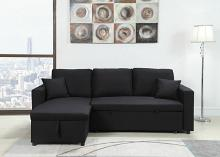 MGS 8067-BK 2 pc Ebern designs mullaney II black linen like fabric sectional sofa set pull out sleep area