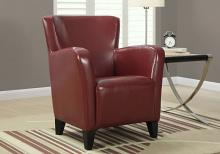 ACCENT CHAIR - RED LEATHER-LOOK FABRIC