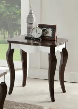 Acme 80682 Mathias white and walnut finish wood chair side end table