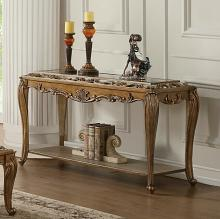 Acme 80693 Astoria grand orianne antique gold finish wood mirrored sofa entry console table