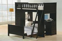 Asia Direct 810-BK Catherines dark espresso finish wood twin / twin loft bunk bed set desk and drawers