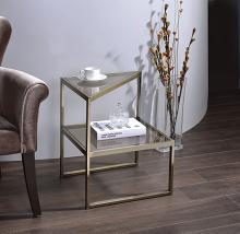 Acme 81030 Orren ellis nair treva antique gold finish frame smokey glass side table
